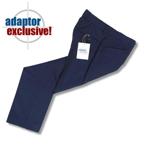 Adaptor Clothing Mod 60's Retro Frog Mouth Pocket Slim Wool Trousers Navy Blue Thumbnail 1