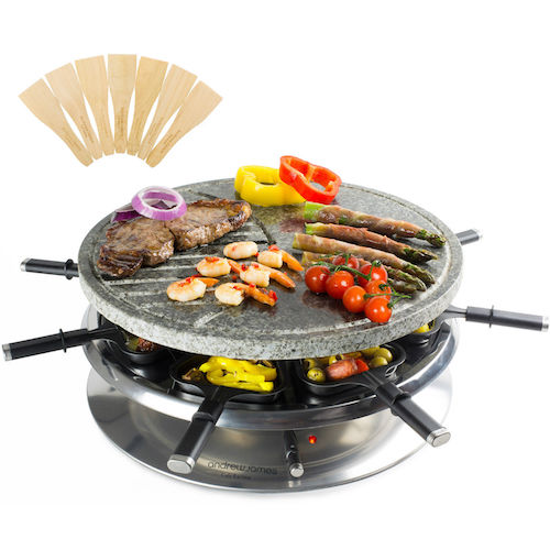 andrew james 8 person rustic stone round raclette grill indoor bbq variable temp buy online. Black Bedroom Furniture Sets. Home Design Ideas