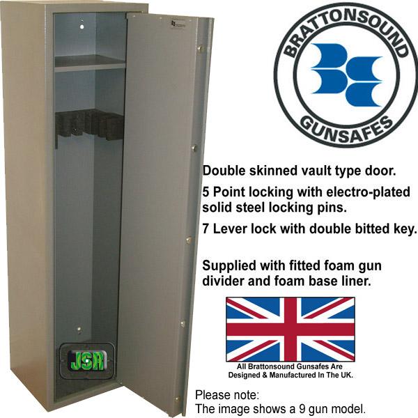 Brattonsound SS7 6//7 Shotgun GUNSAFE With Internal Shelf Cabinet Gun Safe