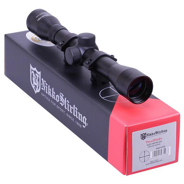 "View Item Nikko MOUNTMASTER 4x32 Mil Dot Rifle Scope Sight + 11mm 3/8"" Dovetail Mounts"