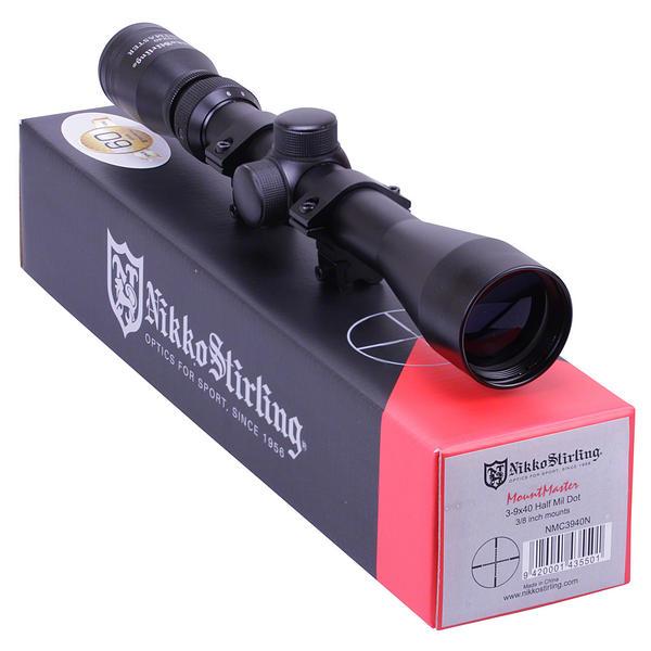 View Item Nikko Stirling Mountmaster 3-9x40 Half Mil Dot Riflescope With Mounts NMC3940