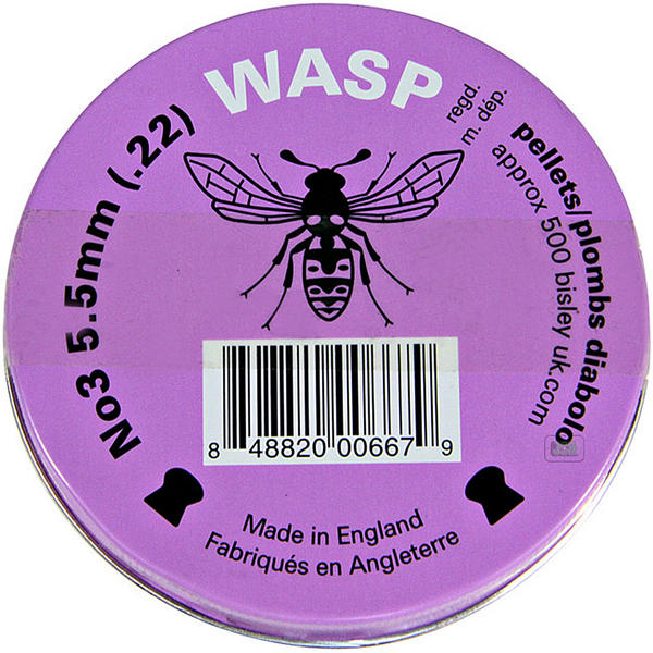 View Item Wasp Domed .22 5.5mm Air Rifle Pistol Gun Pellets 500 Airgun Shooting Purple Tin