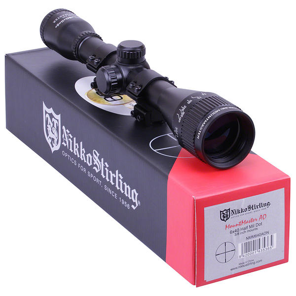 View Item Nikko Stirling Mountmaster 6x40 PX ADJ Riflescope With Mounts NMM640AO