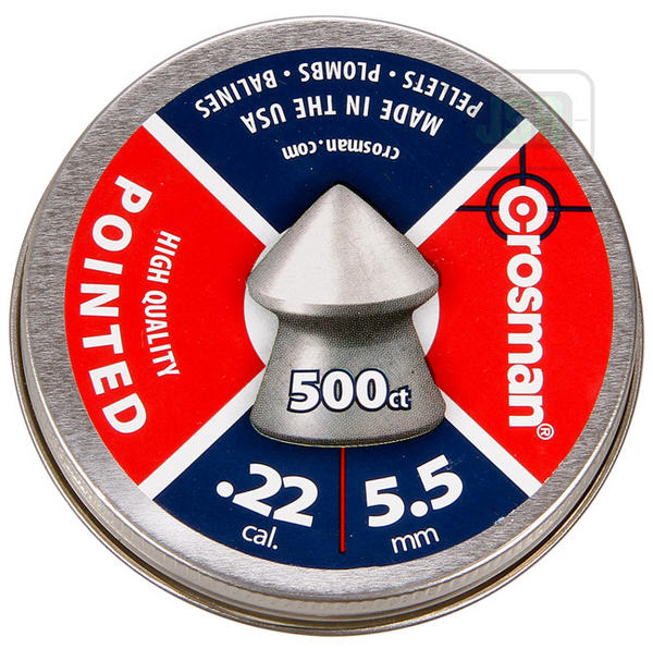 View Item Crosman Pointed Pellets [.22][14.3gr] [500 Tin] 6-11246