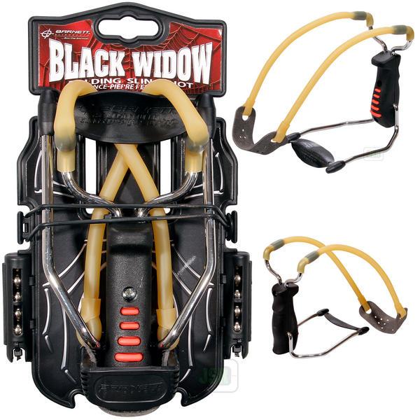 View Item Barnett Black Widow Slingshot Catapult (Natural Band) [Free Steel Ammo]