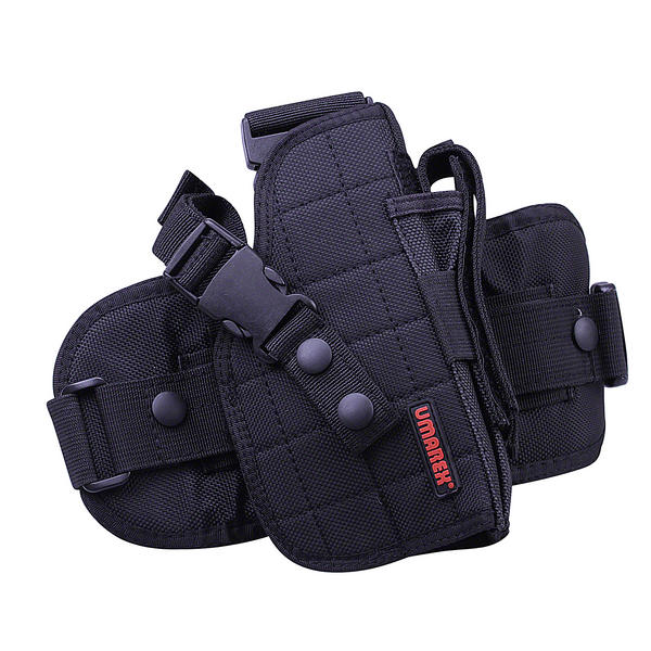 View Item Umarex UTG Black Cordura Leg Holster R/H With Mag Pouch - For Med / Lrg Pistols 3.1564