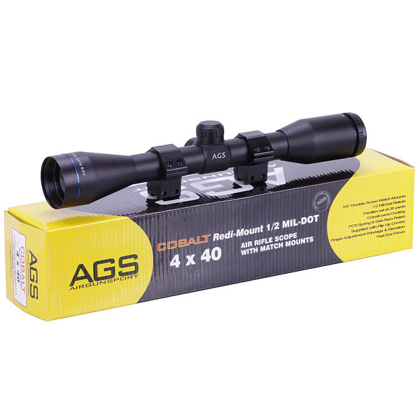 View Item AGS Cobalt 4x40 Telescopic Rifle Sight With 11mm Mounts