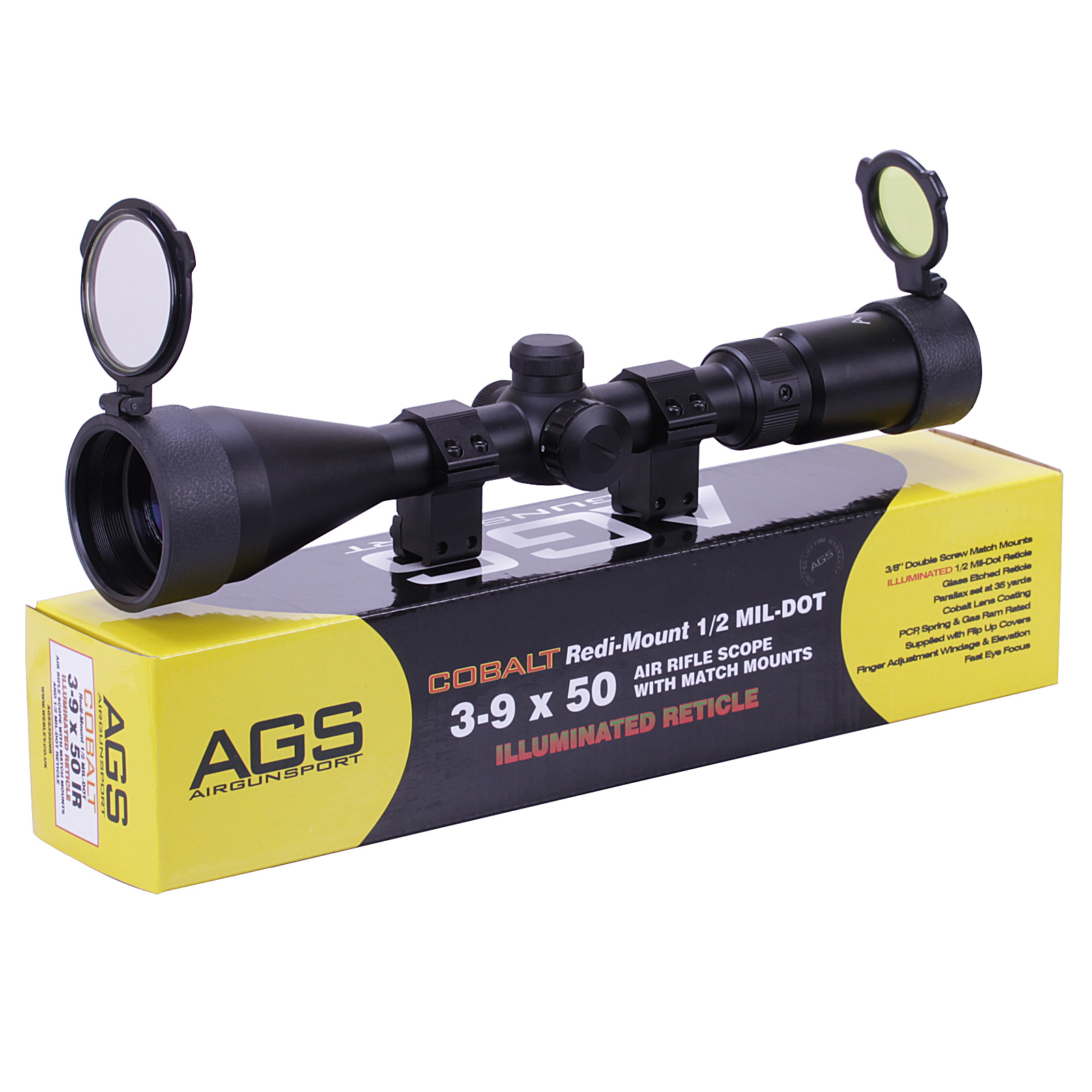 Details about AGS Cobalt 3-9x50 Illuminated Mil Dot Air Rifle Scope  Telescopic Sight + MOUNTS