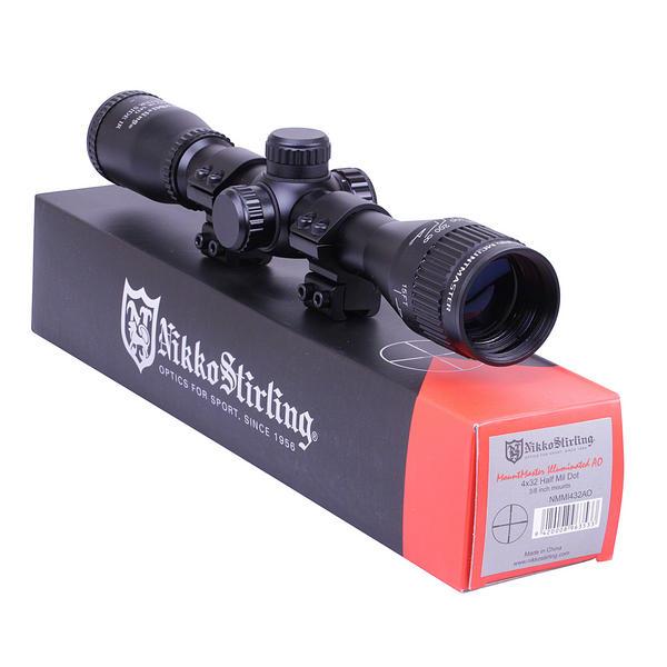 View Item Nikko Stirling Mountmaster 4x32 PX ADJ Illuminated Reticule Riflescope with Mounts NMMI432AO