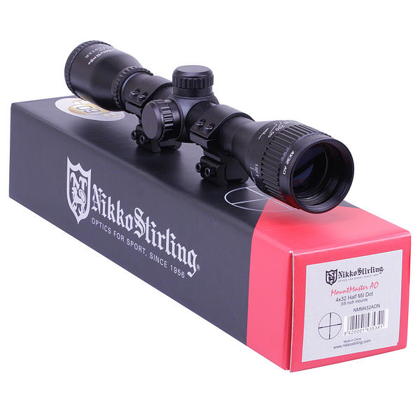 View Item Nikko Stirling Mountmaster 4x32 PX ADJ Riflescope With Mounts NMM432AO