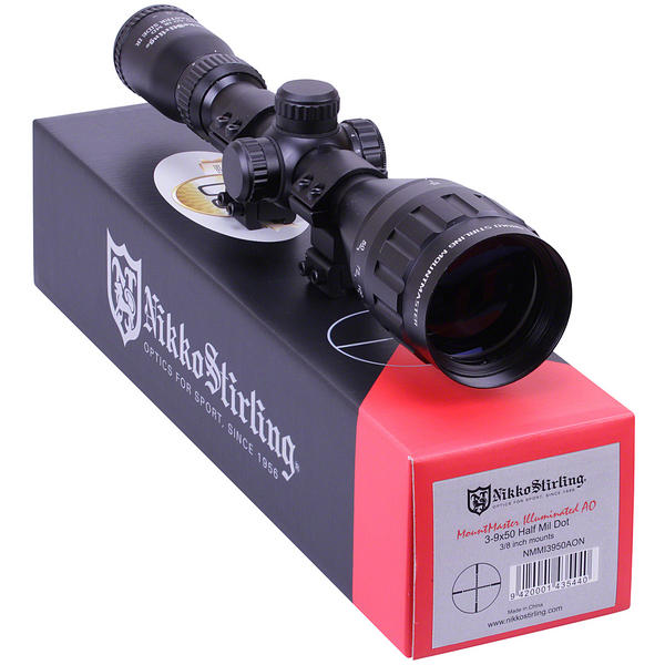 View Item Nikko Stirling Mountmaster 3-9x50 PX ADJ Illuminated Reticule Riflescope With Mounts NMMI3950AO
