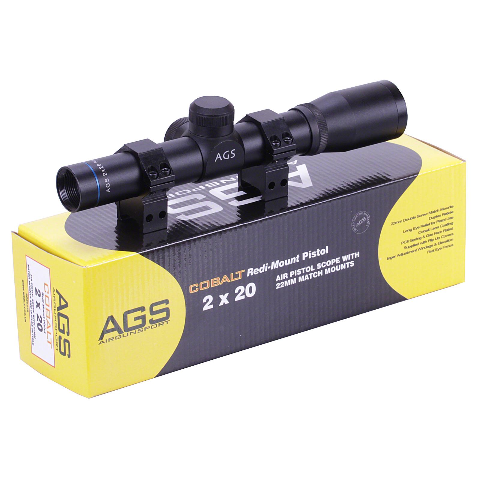 Details about AGS Cobalt 2x20 PISTOL Gun Scope Telescopic Sight + MOUNTS  Webley Alecto