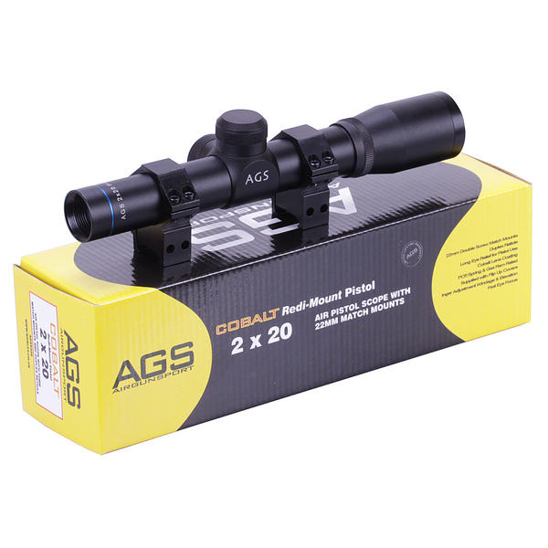 View Item AGS Cobalt 2x20 Telescopic PISTOL Scope Sight With Weaver Mounts AGSS220P