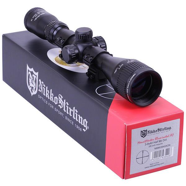 View Item Nikko Stirling Mountmaster 3-9x40 PX ADJ Illuminated Reticule Riflescope With Mounts [NMMI3940AO]