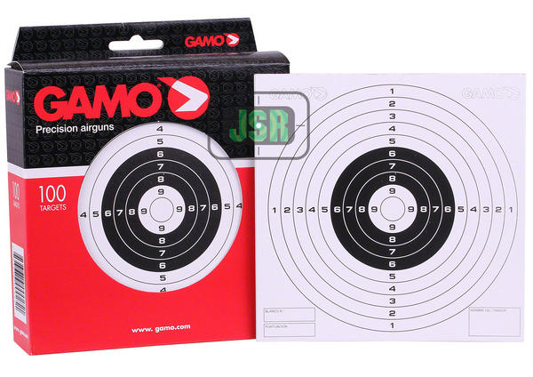 View Item Gamo B&W Card Airgun 14 x 14cm Targets - Single Bull [100 Pack]