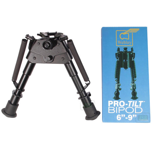 "View Item Webley Pro Tilt Rifle Bipod 6-9"" Swivel Style With Noise Reducing Spring Covers"