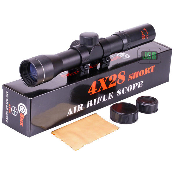 View Item SMK 4x28 SHORT Air Rifle Scope With 11mm Airgun Mounts