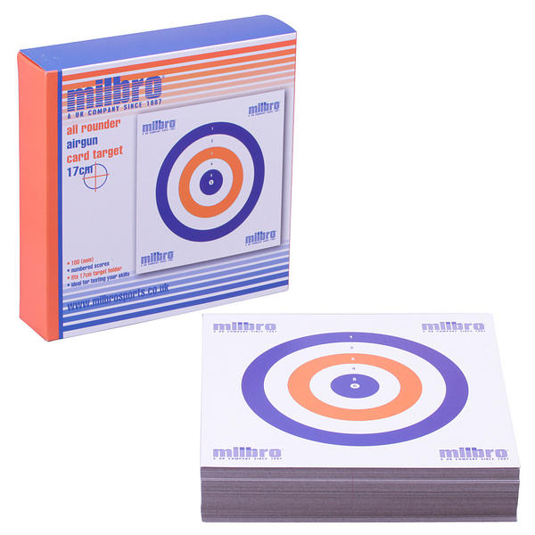 View Item Milbro 17cm Card Targets Red, White & Blue [Approx. 100 Pack]