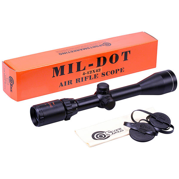 View Item SMK 4-12x42 Zoom Mil Dot Reticle Air Rifle Riflescope Telescopic Sight Hunting