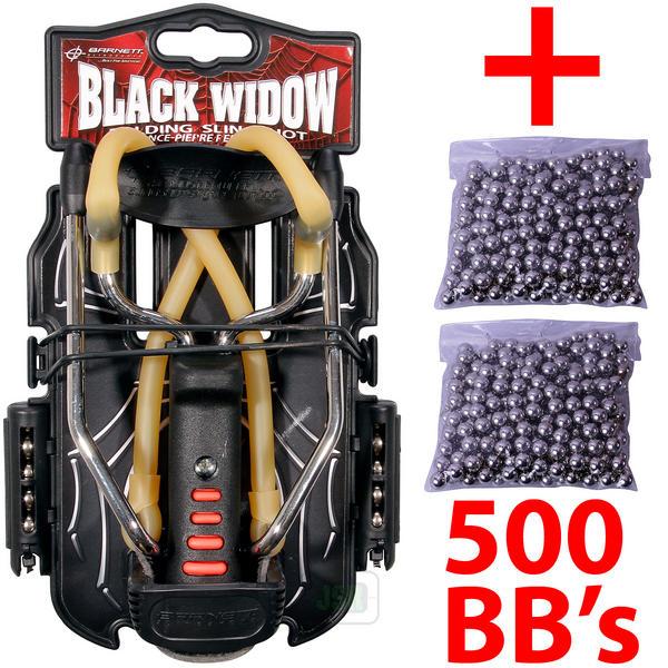 View Item Barnett BLACK WIDOW Powerful Hunting Slingshot Catapult + 500 x 6.35mm BB Ammo
