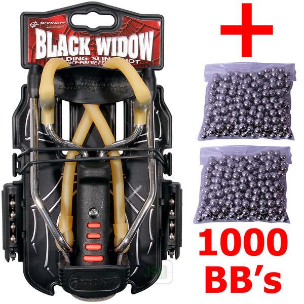 View Item Barnett BLACK WIDOW Powerful Hunting Slingshot Catapult + 1000 x 6.35mm BB Ammo