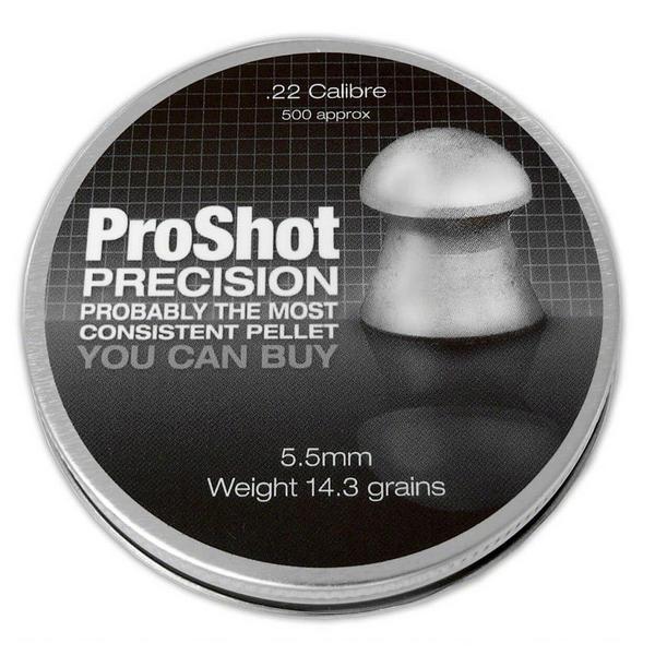 View Item ProShot Precision .22 Domed 5.5mm Air Rifle Gun Hunting Pellets 500 Target
