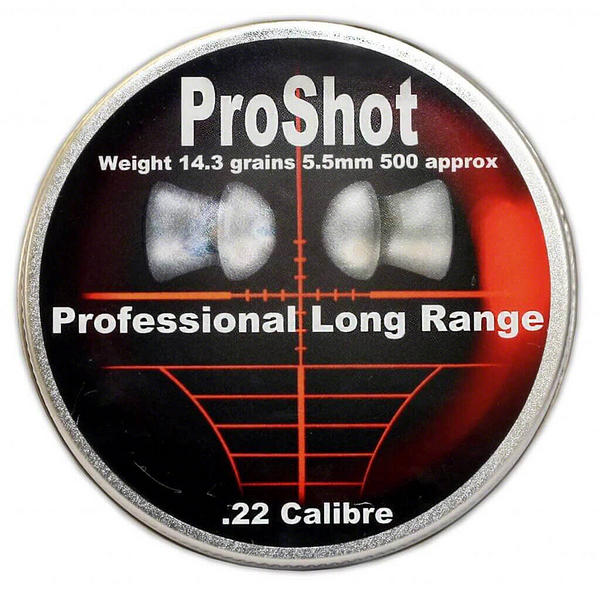 View Item ProShot Professional Long Range .22 Domed 5.5mm Air Rifle Gun Pellets 500 Tin
