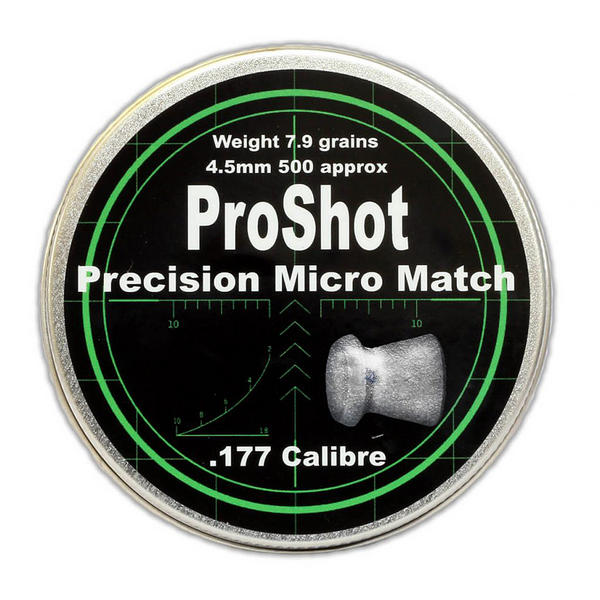 View Item ProShot Precision Micro Match .177 Flat Head 4.5mm Air Rifle Pellets 500 Target