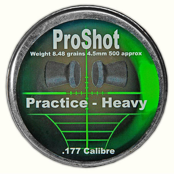View Item ProShot Practice Heavy .177 4.5mm Air Rifle Gun Pellets 500 Target Pest 8.48gr
