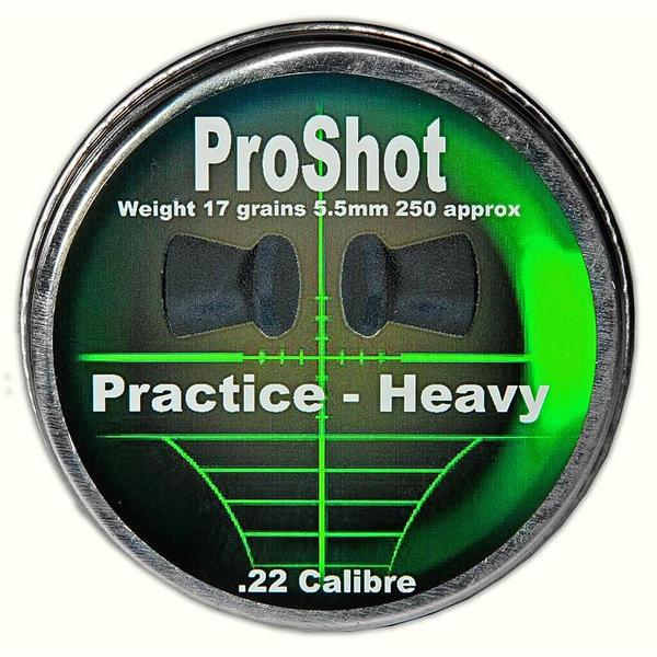 View Item ProShot Practice Heavy .22 5.5mm Air Rifle Gun Pellets 250 Target Pest 17gr