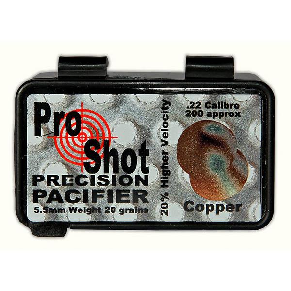 View Item ProShot Precision Pacifier Copper .22 Pellets 5.5mm Air Rifle Gun Pellets 200 20gr