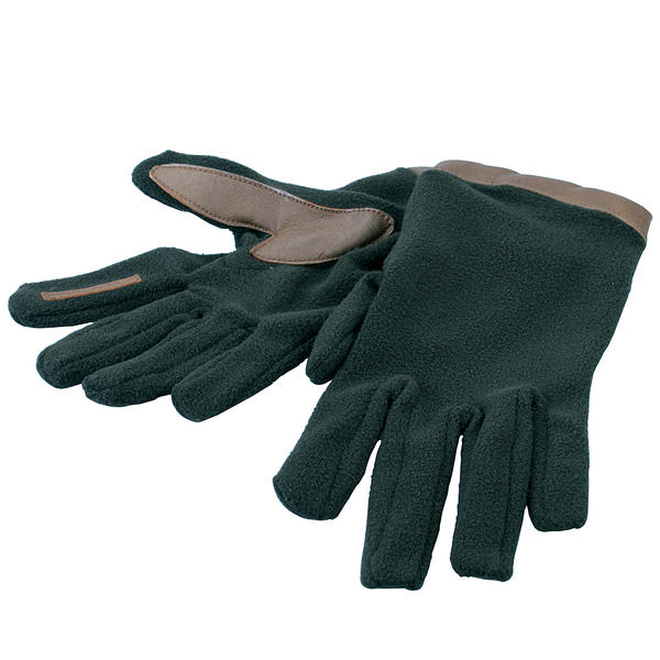 View Item Bisley Fleece & Leather Gloves Green Thermal Mitts Men  Women Small Medium Large