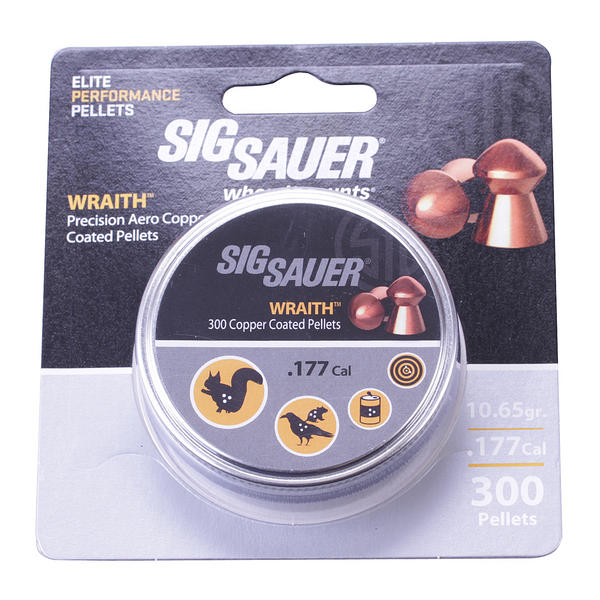 View Item Sig Sauer Wraith Copper Coated Domed .177 4.5mm Pellets Hunting Vermin 300 Tin