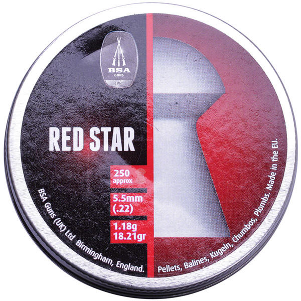 View Item BSA Red Star Heavy Domed .22 5.5mm Pellets Airgun Air Rifle Hunting Target 22 [250]
