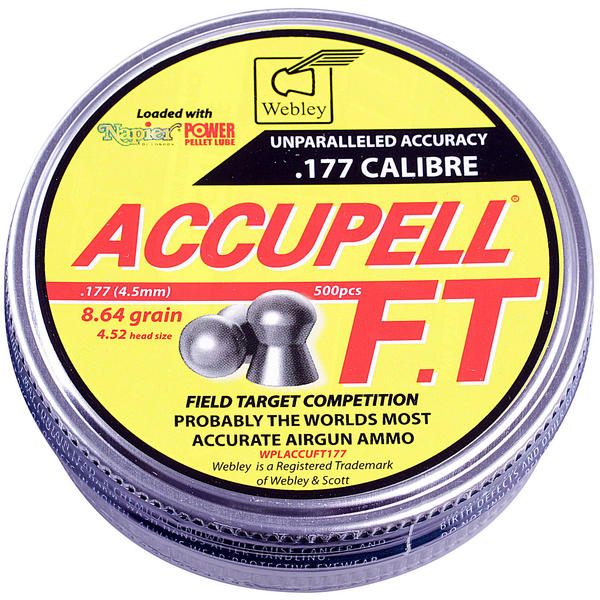 View Item Webley AccuPell FT .177 Airgun Pellets With Napier Pellet Lube [500]