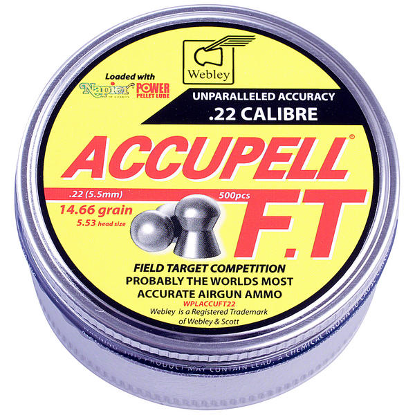 View Item Webley AccuPell FT .22 Airgun Pellets With Napier Pellet Lube [500]