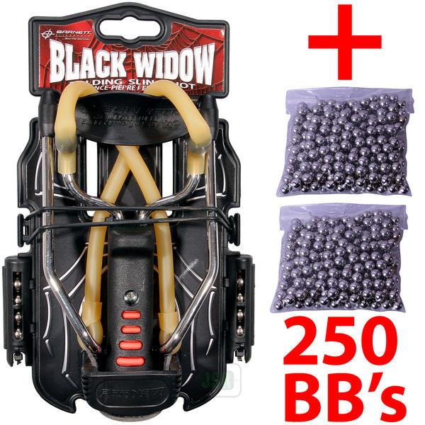 View Item Barnett Black Widow Powerful Hunting Slingshot Catapult + 250 x Steel 6.35mm BB Ammo