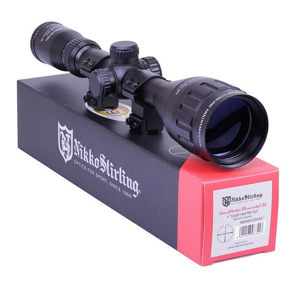 View Item New Stock - Open box Nikko Stirling Mountmaster 4-12x50 PX ADJ Illuminated Reticule Riflescope With Mounts