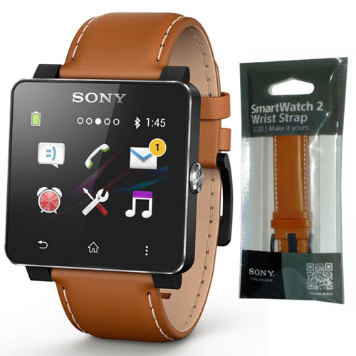 660009d963 NEW GENUINE SONY SE20 LEATHER WRIST STRAP BAND FOR SMARTWATCH 2 IN LIGHT  BROWN