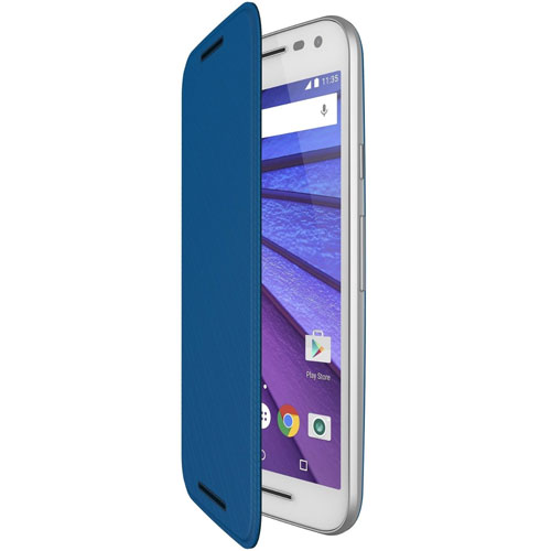 sports shoes 21eb2 51a7c Details about NEW GENUINE OFFICIAL MOTOROLA MOTO G 3RD GENERATION SLIM FLIP  CASE COVER BLUE