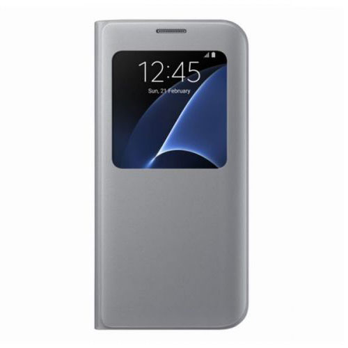 new official samsung galaxy s7 edge protective sview flip case cover silver 8806088255040 ebay. Black Bedroom Furniture Sets. Home Design Ideas