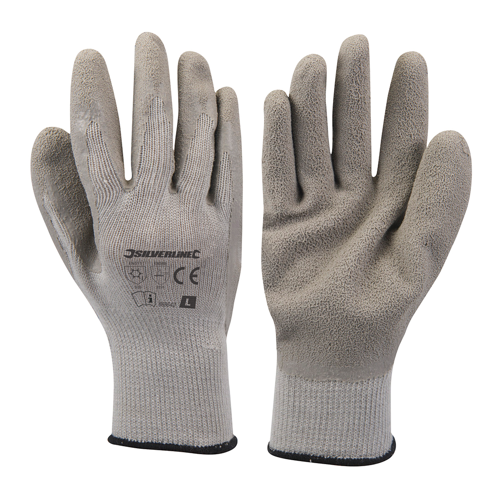 Silverline Latex Builders Supported Gloves Large Acrylic Liner Heavy Duty