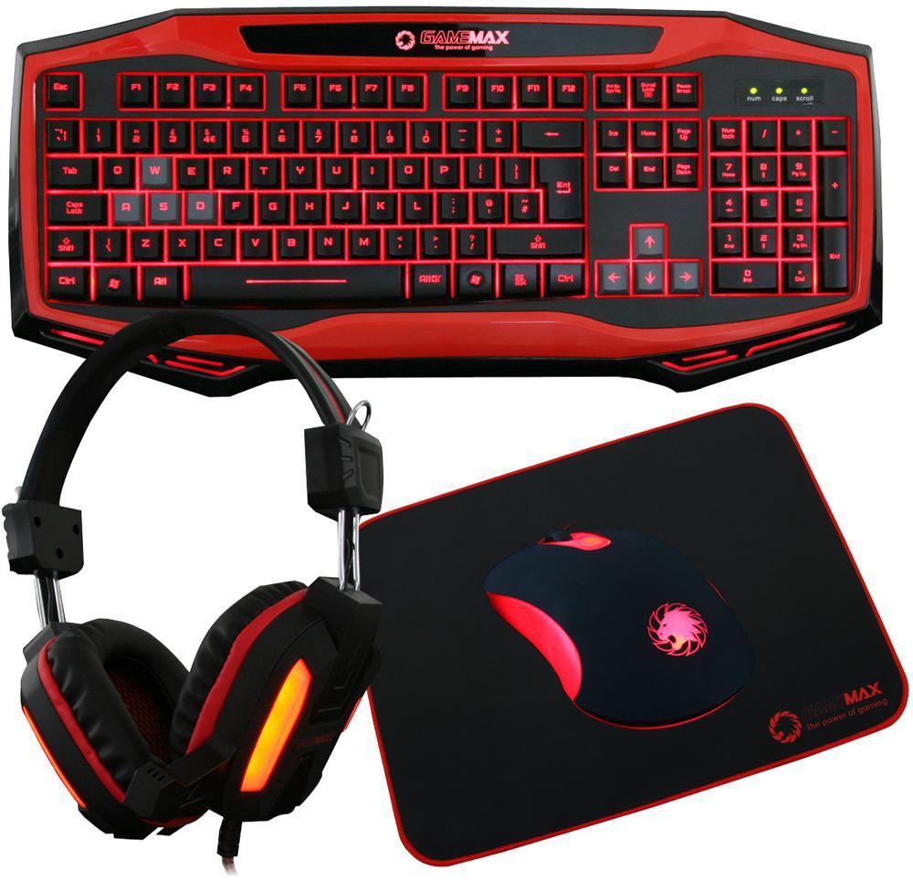 Gamemax Raptor Gaming Mouse Keyboard Amp Headset Kit Red Led