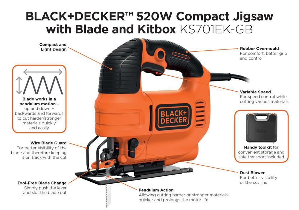 Black decker ks701ek gb 520w variable speed compact jigsaw with black decker ks701ek gb 520w variable speed compact jigsaw with blade and case greentooth Image collections