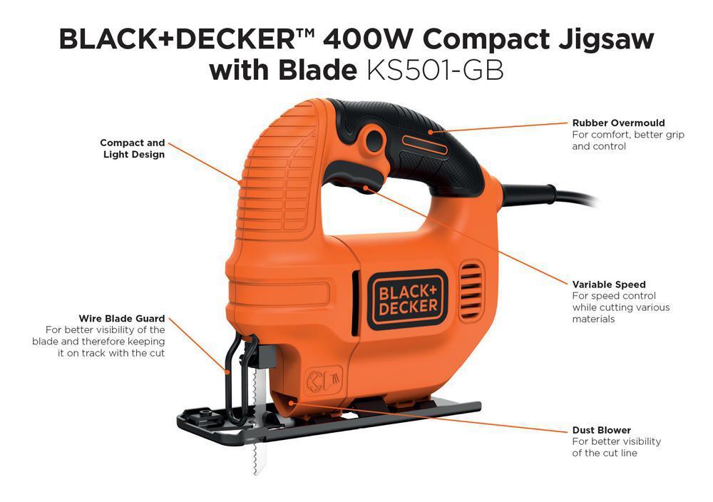 Black decker ks501 gb 400w compact jigsaw with 1 wood cutting black decker ks501 gb 400w compact jigsaw with 1 wood cutting blade greentooth Gallery