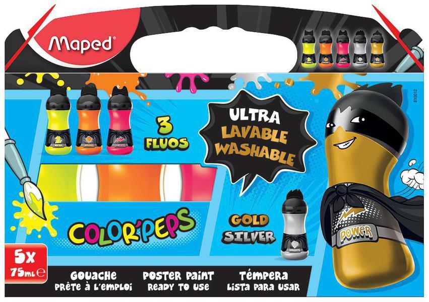 maped color peps superhero fluorescent metallic washable poster