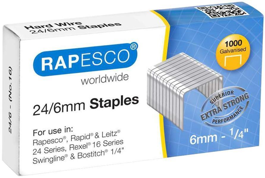 Rapesco 1237-923//10mm en acier galvanisé Staples-Pack de 1000