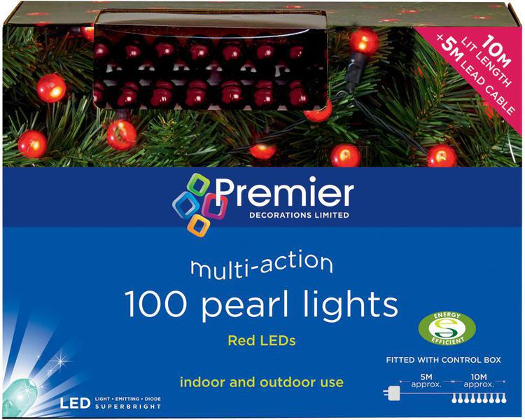 100 christmas led multi action pearl berry lights red premier