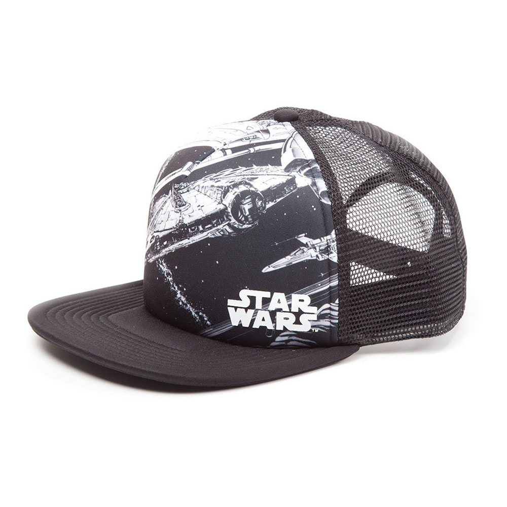 ... STAR WARS Millennium Falcon Trucker Snapback Baseball Cap 2f6cebbd5c