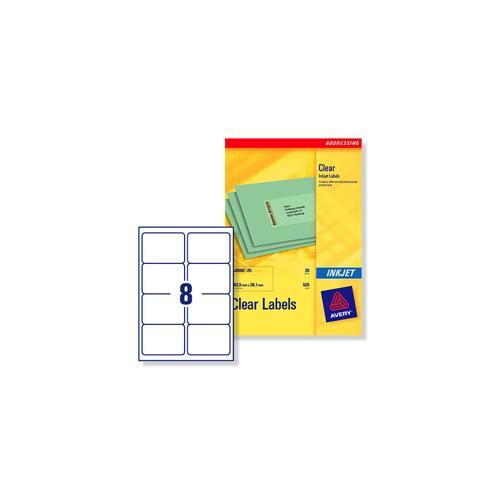 j8565 25 avery clear addressing labels 8 per sheet 99 1x67 7mm 200